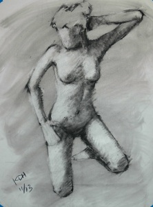 Kneeling figure - Charcoal and pencil on paper - 22x28 - 10/13